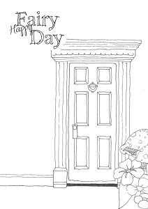 Little Fairy Door Template Happy Fairy Day Colouring